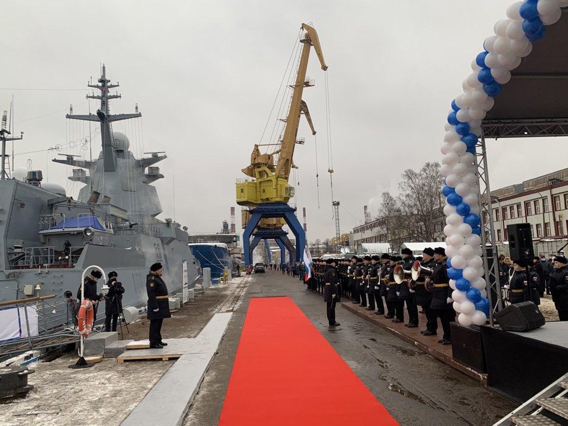 Ректор ГУАП приняла участие в церемонии торжественного поднятия Андреевского флага на многоцелевом корвете «Гремящий»